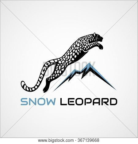 Leaping Snow Leopard And Mountains Sign Logo Vector Illustration On White Background