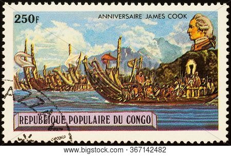 Moscow, Russia - May 19, 2020: Stamp Printed In Congo Shows English Captain James Cook (1728-1779),