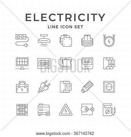 Set Line Icons Of Electricity Isolated On White. Cable Extension, Junction Box, Fusebox, Lighting Eq