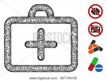 Mesh First Aid Web Icon Vector Illustration. Model Is Based On First Aid Flat Icon. Mesh Forms Abstr