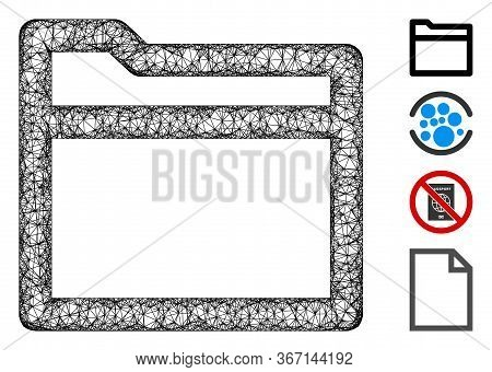 Mesh Folder Web Icon Vector Illustration. Model Is Based On Folder Flat Icon. Mesh Forms Abstract Fo