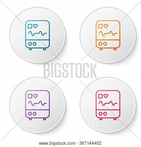 Color Line Computer Monitor With Cardiogram Icon Isolated On White Background. Monitoring Icon. Ecg