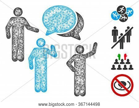 Mesh Forum Web Icon Vector Illustration. Model Is Based On Forum Flat Icon. Net Forms Abstract Forum