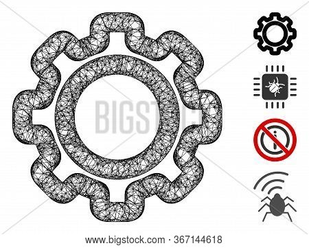 Mesh Gear Web Icon Vector Illustration. Model Is Created From Gear Flat Icon. Mesh Forms Abstract Ge