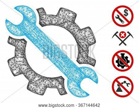 Mesh Gear And Wrench Options Tools Web Icon Vector Illustration. Model Is Based On Gear And Wrench O