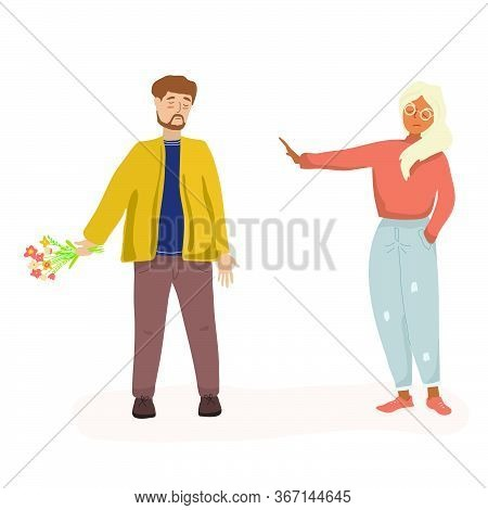 Couple In A Quarrel. A Man With Flowers Is Trying To Apologize To A Woman. Husband And Wife Or Coupl