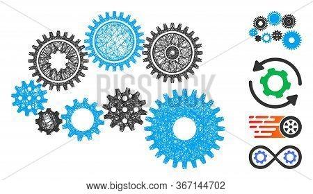 Mesh Gear Mechanism Web Symbol Vector Illustration. Carcass Model Is Based On Gear Mechanism Flat Ic