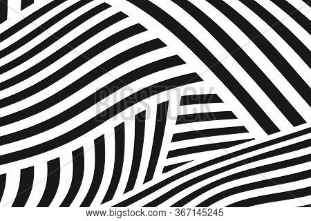 Abstract Black And White Stripe Line Pattern Mesh Design Artwork Background. Decorate For Ad, Poster