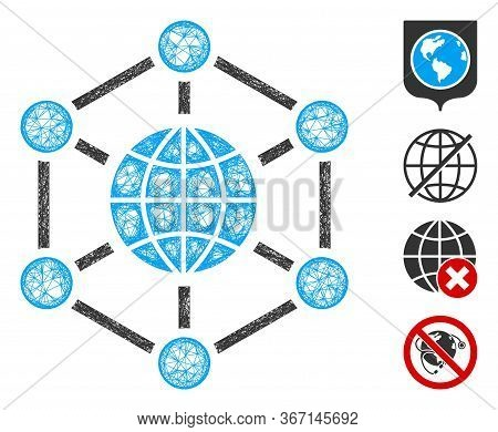 Mesh Global Web Icon Vector Illustration. Carcass Model Is Based On Global Web Flat Icon. Network Fo