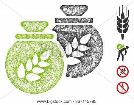 Mesh Grain Harvest Sacks Web Icon Vector Illustration. Carcass Model Is Based On Grain Harvest Sacks