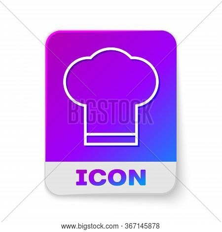 White Line Chef Hat Icon Isolated On White Background. Cooking Symbol. Cooks Hat. Rectangle Color Bu