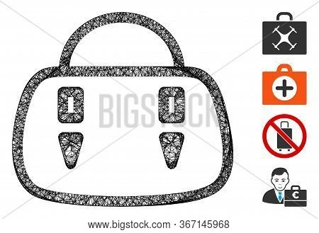 Mesh Handbag Web 2d Vector Illustration. Model Is Based On Handbag Flat Icon. Network Forms Abstract