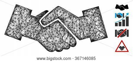 Mesh Handshake Web Icon Vector Illustration. Carcass Model Is Based On Handshake Flat Icon. Net Form