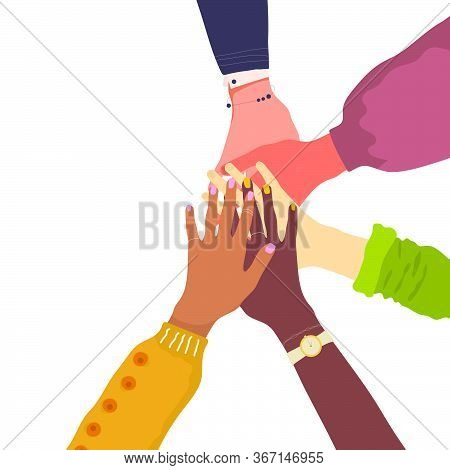 Hands Holding Together. Women Hands Putting Together. Diverse Group Of Women. Concept Of Girl Power