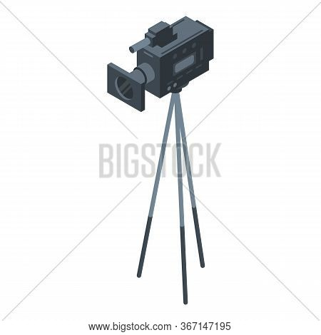 Camera On Tripod Icon. Isometric Of Camera On Tripod Vector Icon For Web Design Isolated On White Ba