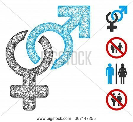 Mesh Heterosexual Symbol Web Icon Vector Illustration. Carcass Model Is Created From Heterosexual Sy
