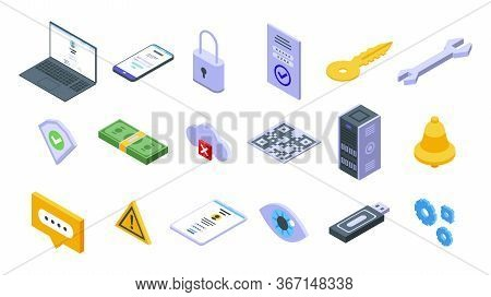 Multi-factor Authentication Icons Set. Isometric Set Of Multi-factor Authentication Vector Icons For