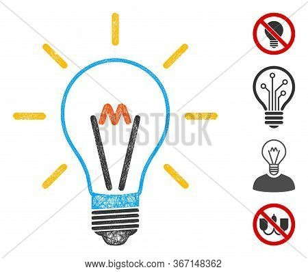 Mesh Invent Bulb Web Icon Vector Illustration. Carcass Model Is Based On Invent Bulb Flat Icon. Mesh
