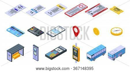Bus Ticketing Icons Set. Isometric Set Of Bus Ticketing Vector Icons For Web Design Isolated On Whit
