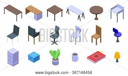 Space Organization Icons Set. Isometric Set Of Space Organization Vector Icons For Web Design Isolat