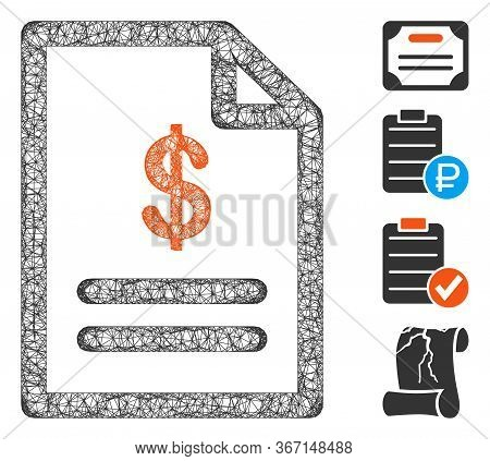 Mesh Invoice Web Icon Vector Illustration. Abstraction Is Based On Invoice Flat Icon. Network Forms