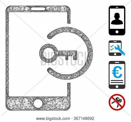 Mesh Key Login Smartphone Web Icon Vector Illustration. Model Is Created From Key Login Smartphone F