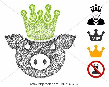 Mesh King Pig Web Symbol Vector Illustration. Carcass Model Is Based On King Pig Flat Icon. Mesh For