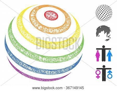 Mesh Lgbt Color Stripes Abstract Sphere Web Symbol Vector Illustration. Carcass Model Is Based On Lg