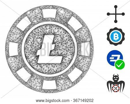 Mesh Litecoin Casino Chip Web Icon Vector Illustration. Abstraction Is Based On Litecoin Casino Chip