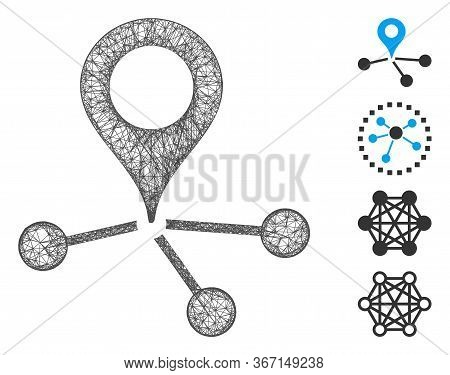 Mesh Location Links Web Icon Vector Illustration. Carcass Model Is Based On Location Links Flat Icon