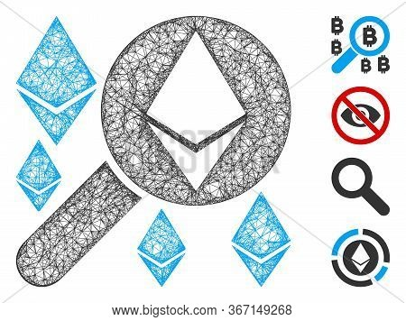 Mesh Loupe Search Ethereum Web 2d Vector Illustration. Carcass Model Is Based On Loupe Search Ethere