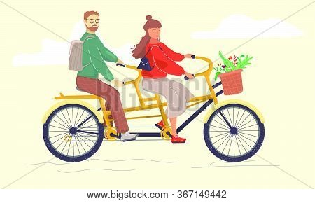A Man And A Woman Ride A Double Bike. Double Bicycle. A Couple On A Bicycle. Flat Vector Illustratio