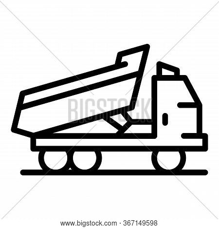 Tipper Truck Icon. Outline Tipper Truck Vector Icon For Web Design Isolated On White Background