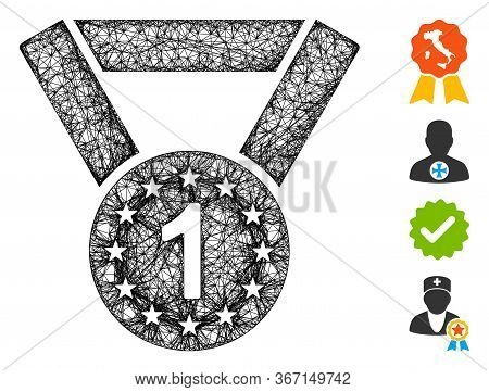 Mesh Medal First Web Icon Vector Illustration. Carcass Model Is Based On Medal First Flat Icon. Net