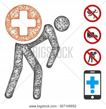 Mesh Medication Courier Web Icon Vector Illustration. Model Is Based On Medication Courier Flat Icon