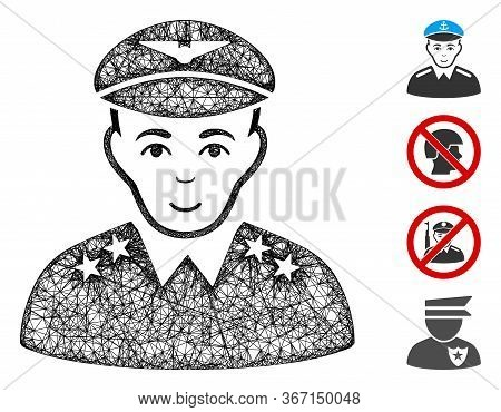 Mesh Military Pilot Officer Web Icon Vector Illustration. Carcass Model Is Based On Military Pilot O