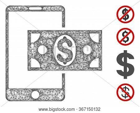 Mesh Mobile Dollar Cash Web 2d Vector Illustration. Carcass Model Is Based On Mobile Dollar Cash Fla