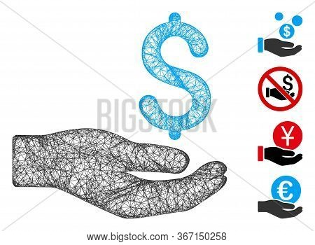 Mesh Money Donation Web Icon Vector Illustration. Carcass Model Is Based On Money Donation Flat Icon