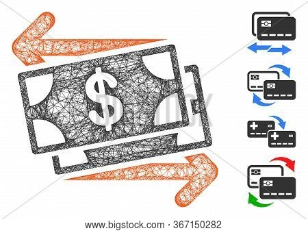 Mesh Money Exchange Web 2d Vector Illustration. Carcass Model Is Based On Money Exchange Flat Icon.