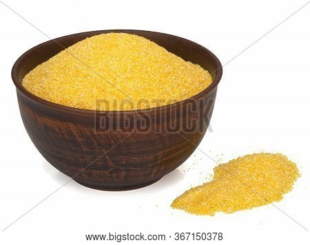 Corn Grits In A Plate And On A White Background