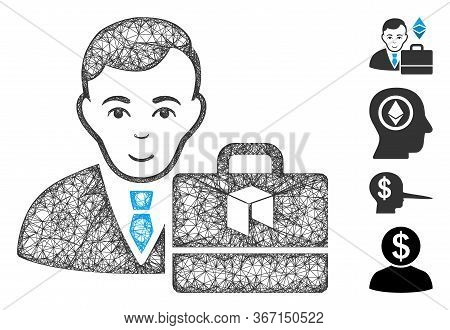 Mesh Neo Accounter Web Icon Vector Illustration. Carcass Model Is Based On Neo Accounter Flat Icon.