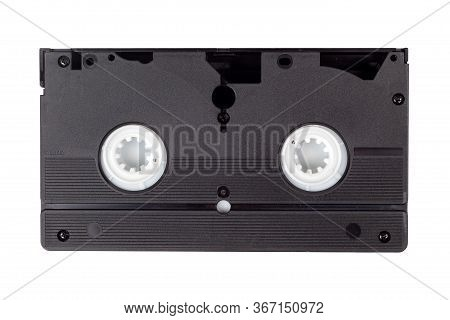 Single Old Vintage Black Blank Vhs Video Cassette Isolated On White, Back Side. Retro Technology, Vc