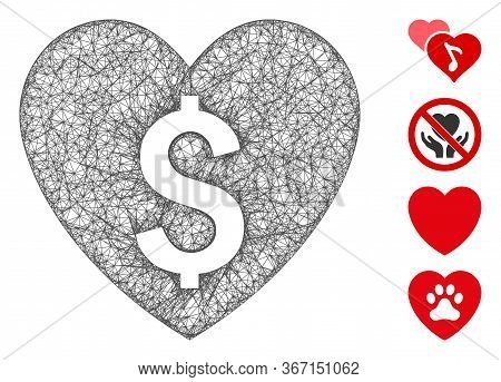 Mesh Paid Love Web Icon Vector Illustration. Model Is Based On Paid Love Flat Icon. Mesh Forms Abstr