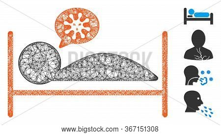 Mesh Patient Bed Web Icon Vector Illustration. Carcass Model Is Based On Patient Bed Flat Icon. Mesh
