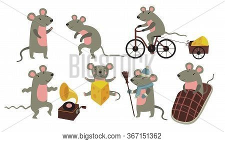 Happy Funny Mouse Set. Cartoon Rodent In Different Action, Riding Bike, Carrying Cheese, Dancing To