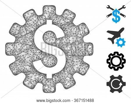 Mesh Payment Options Web Icon Vector Illustration. Carcass Model Is Based On Payment Options Flat Ic