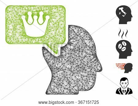 Mesh Person Dream Crown Web Symbol Vector Illustration. Model Is Based On Person Dream Crown Flat Ic