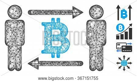 Mesh Persons Exchange Bitcoin Web Icon Vector Illustration. Carcass Model Is Based On Persons Exchan