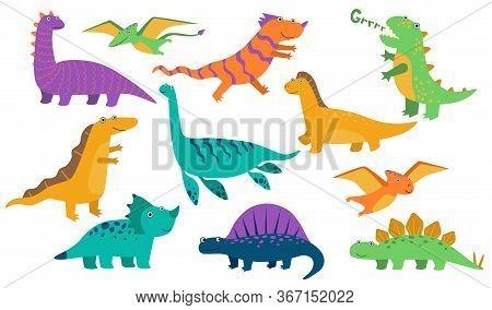 Cute Baby Dinos Set. Funny Roaring Dinosaurs, Cartoon Stegosaurus, Comic Creatures. Vector Illustrat