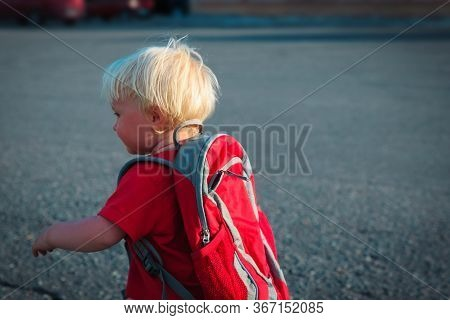 Little Girl With Backpack Going To School Or Daycare